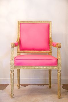 Gilded Louis XVI Chair with Pink Upholstery