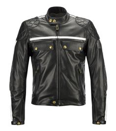 The Donnington Blouson. This Motorcycle Jacket has the Quilted Reinforcements on the shoulders, elbows and lower back making a great styling feature. The Jacket comes in Three colours, - Black wth white stripes, Black with Black Stripes and a Mahogany with White Stripes. The Donnington Jacket is based on the 1960's Steve McQueen Mojave Leather Jacket however been re-styled and made to a much higher standard.