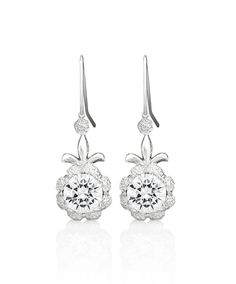 Mastercrafted in sterling silver Mercie earrings are set with a Fleur de Lis detail and one central round white cubic zirconia. Jenna Clifford, Diamond Earrings, Drop Earrings, Sterling Silver, Detail, Winter, Jewelry, Winter Time, Jewlery