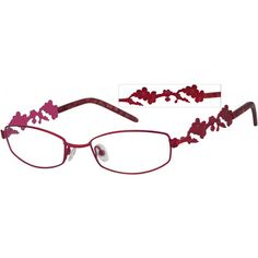 A medium size,hypoallergenic stainless steel full rim frame with plum blossom patterned temples.
