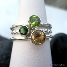Ring: gemstone stack ring set (peridot, emerald, citrine) avery, owen and me!