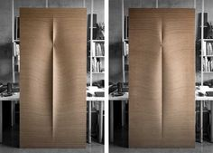 Sweet door from angled laminated wood, CNC surface cut to make an expressive door.