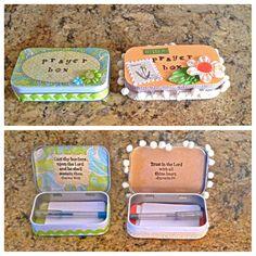 Altoid tin turned into a prayer box! Bible School Crafts, Altoids Tins, Catholic Crafts, Christian Crafts, Christian Life, Vacation Bible School, Diy Christmas Gifts, Homemade Christmas, Craft Gifts