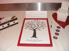 petite poubelle avec mouchoir ou lingette arbre à empreintes mariage rouge et ivoire