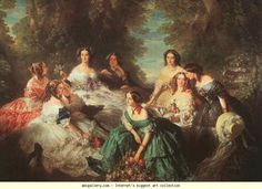 Franz Xaver Winterhalter. Portrait of Empress Eugénie Surrounded by Her Maids of Honor. Olga's Gallery.