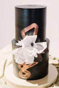 Two Birds Photography Metallic Wedding Cakes, Painted Wedding Cake, Black Wedding Cakes, Wedding Cake Photos, Wedding Cake Designs, Buttercream Wedding Cake, Cake Trends, Two Birds, Geometric Wedding