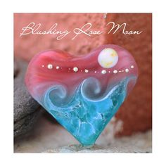New Blushing Rose Moon Heart Bead =-) Smooth like sea glass, with fine .999 silver accenting.