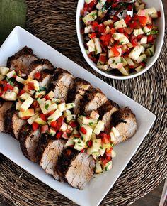 Cinnamon and Chili Pork Tenderloin with Fresh Apple Salsa - Mel's Kitchen