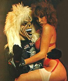 80s-90s-stuff:  Iron Maiden's Eddie gets them all - early 80s   …perfect day for posting this! Up the Irons!