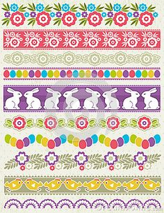 Set of Lace Paper with flower an easter eggs, vector illustration