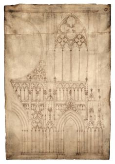 """Blueprint of medieval cathedral. The top image shows a drawing on parchment from the It is one of the earliest existing architectural drawings and depicts the façade, or front, of Strasbourg Cathedral in France. The """"blueprint"""" almost stands a meter tall. Art Et Architecture, Cathedral Architecture, Historical Architecture, Architecture Details, Architecture Religieuse, Strasbourg Cathedral, Cathedral Windows, Wow Art, Medieval Art"""