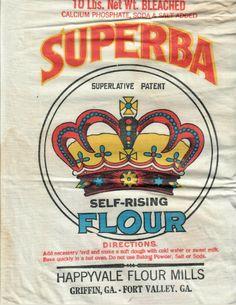 Griffin & Fort Valley Ga- NOS Vintage Superba Self Rising Flour 10 lb Bag | eBay Fort Valley, Flour Mill, Self Rising Flour, Flour Sacks, Grain Sack, Miniatures, Packaging, Bags, History