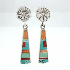 Southwestern Native American Handcrafted Turquoise and Spiny Oyster Inlaid Dangle Flower Earrings in Sterling Silver by Ray Tracey , #8541 Taos Trading Earrings,http://www.amazon.com/dp/B001LK5FVC/ref=cm_sw_r_pi_dp_CCQ5sb16TMWQXH2A