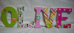 Owls / Wood Letters/ Wall Letters / Nursery by cathyscraftycovers