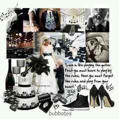 Black & white rock n roll wedding theme