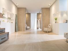 Revestimento XLIGHT Travertino Beige 100x300 cm | Pavimento grés porcelânico Travertino Beige Nature 59,6x59,6 cm