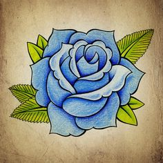 Blue Rose by Samuel Whitton Blue old school rose - Tattoo Design Easy Drawings, Tattoo Drawings, Blue Drawings, Tattoo Ink, Blue Ink Tattoos, Yellow Rose Tattoos, Old School Rose, Tattoo Stencils, Rose Art