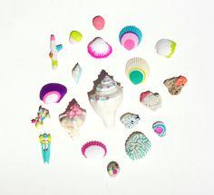 Neon Coral and Seashells 20 piece collection - Mermaid Art, Wedding, OOAK, Beach, Nautical, Summer, Starfish, Miniature, White, Shells. via Etsy.