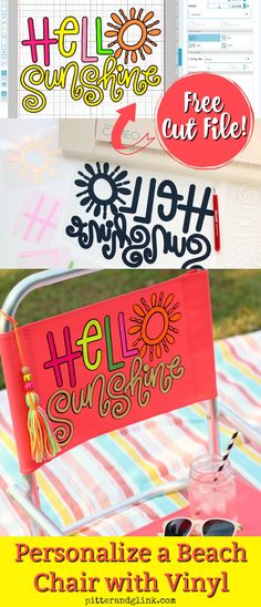 Personalized Beach Chair Vinyl Crafts, Vinyl Projects, Elf Food Groups, Rainbow Quote, Silhouette Cameo Projects, Diy Chair, Cricut Creations, Cricut Vinyl, Beach Chairs