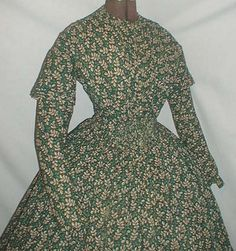 40's Wool challis dress with gathers and dropped waist
