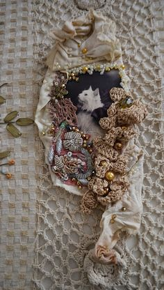 Bohemian,big brooch,art collage brooch,fiber arts,art to wear brooch,gypsy,mori girl,fairy brooch,romantic brooch White Cat