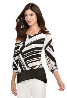 Cato Fashions Graphic Lines Asymmetrical Top-Plus #CatoFashions