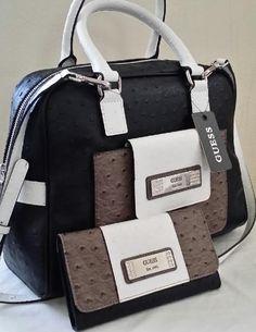 266b7f84b8 Gorgeous Guess Black Gray White Satchel Handbag Purse Wallet Satchel  Handbags