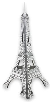 Polished Aluminum Eiffel Tower Statue 21 In. traditional-decorative-objects-and-figurines