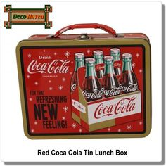 This refreshingly retro lunch box will look great with the rest of your Coca-Cola collectibles! It's steel construction features a great vintage Coca-Cola design and is finished with an easy-grip handle and metal closure latch. Coca Cola Decor, Coca Cola Ad, Always Coca Cola, World Of Coca Cola, Coca Cola Bottles, Retro Lunch Boxes, Tin Lunch Boxes, Metal Lunch Box, Tin Boxes