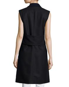 TAAEA Veronica Beard Palmer Long Sleeveless Vest, Black