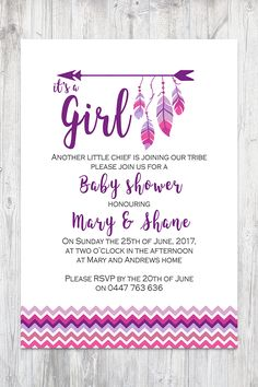 Tee Pee Aztec Tribal Southwest Baby Shower Sprinkle Invitation Invites, Pink Purple Feathers Arrow Baby Sprinkle Invite Girl Sprinkle Invitations, Bridal Shower Invitations, Birthday Party Invitations, Invites, Spa Birthday Parties, Baby Sprinkle, Tee Pee, Wedding Cards, Boy Blue