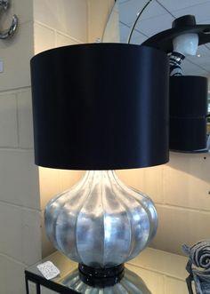 Large Silver Chunky Base Modern Table Lamp Black Shade