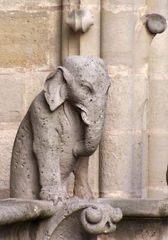 Elephant gargoyle on roof at Notre Dame Cathedral, Paris, France, photo: Lois Kosch. Elephant Love, Elephant Art, Gothic Gargoyles, Notre Dame Gargoyles, Sculptures, Lion Sculpture, Elephant Sculpture, Ange Demon, Gremlins