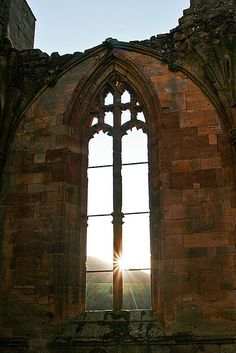 Beautiful sun streaming through the window of the magnificent ruins of Melrose Abbey!