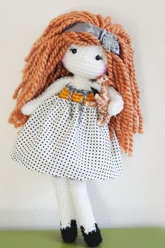 16 Crochet Doll  Strawberry blonde with little ♡ by LinaMarieDolls
