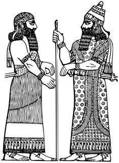 Assyrian King w Minister - /world_history/attire/middle_east/Assyrian_King_w_Minister. Ancient Persian, Ancient Art, Ancient History, World History, Art History, Persian Tattoo, Skateboard Deck Art, Sassanid, Ideas