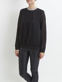 VIGILIO - BEADED, LONG SLEEVED TOP, Black