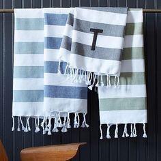 Hammam Stripe Hand Towels at West Elm - powder bathroom Cotton Towels, Hand Towels, Striped Towels, White Towels, First Apartment, Apartment Ideas, Apt Ideas, Striped Shower Curtains, Modern Baths