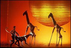 The Lion King - the animal movements were stylized, giving the impression they were completely natural - yet the artifice was clearly visible at all times Lion King Play, Lion King Jr, Lion King Musical, Lion King Broadway, Lion King West End, Giraffe Costume, Animal Movement, Shows In Nyc, How To Show Love