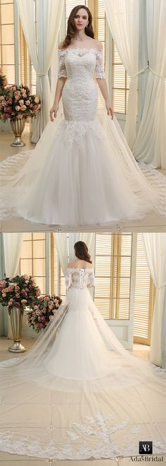 Gorgeous tulle off-the-shoulder neckline mermaid wedding dresses with beaded lace appliques. Do you like off-the-shoulder? (WWD37037) - Adasbridal.com