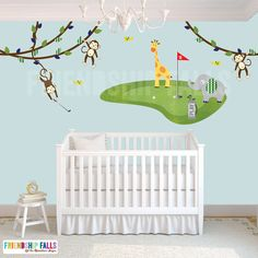 golf decal mini golf wall decal elephant giraffe Nursery Golf Decor Friendship Falls decal Navy and Green Golf Scene Golf Nursery, Giraffe Nursery, Giraffe Baby, Elephant, Navy Nursery, Childrens Wall Decals, Nursery Wall Decals, Jungle Wall Stickers, Golf Room