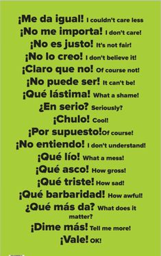 Here are 15 Spanish Learning Hacks I used to become Fluent Fast! Learn how to speak everyday, conversational Spanish now. Here are 15 Spanish Learning Hacks I used to become Fluent Fast! Learn how to speak everyday, conversational Spanish now. Spanish Grammar, English Vocabulary Words, Spanish English, English Phrases, Teaching Spanish, Common Phrases In Spanish, Spanish Swear Words, Simple Spanish Words, Spanish Slang Words