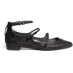 Stuart Weitzman 'Flippy' glitter mesh Mary Jane flats ($400) ❤ liked on Polyvore featuring shoes, flats, black, t-strap mary janes, black flats, flat shoes, stuart weitzman flats and t-strap flats