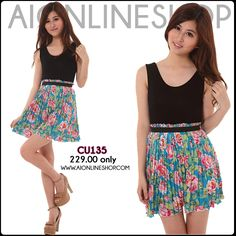 Spandex Tank with Floral Print Skirt, One Piece Dress - P229.00 only!! Find this and more at http://aionlineshop.com/ <3