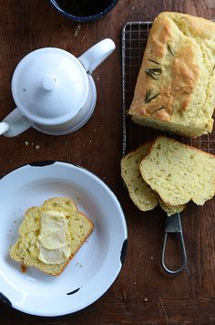 Rosemary-Onion Quick Bread - I'd caramelize the onion first (and let it cool) and then possibly add some cheese to the bread.  No yeast in this one.