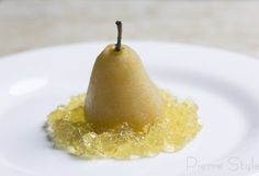 Blue Cheese Mousse Stuffed Vanilla Poached Pear with Riesling Gelé