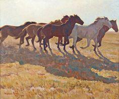 Maynard Dixon (1875-1946) Remuda, oil on canvas, 25 x 30 inches
