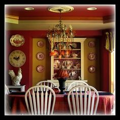 My red dining room. Would paint the ceiling a lighter creamy white color. Red Cottage, Cottage Living, Cozy Cottage, Farmhouse Kitchens, Dining Room Walls, American Country, French Country Decorating, White Houses, Creamy White
