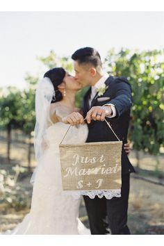 "12"" x 14"" Custom  Rustic "" Just Married"" Burlap Wedding Sign, Rustic Wedding Burlap Sign on Etsy, $28.00"