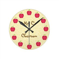 Personalized Red Apple Classroom Round Wallclocks